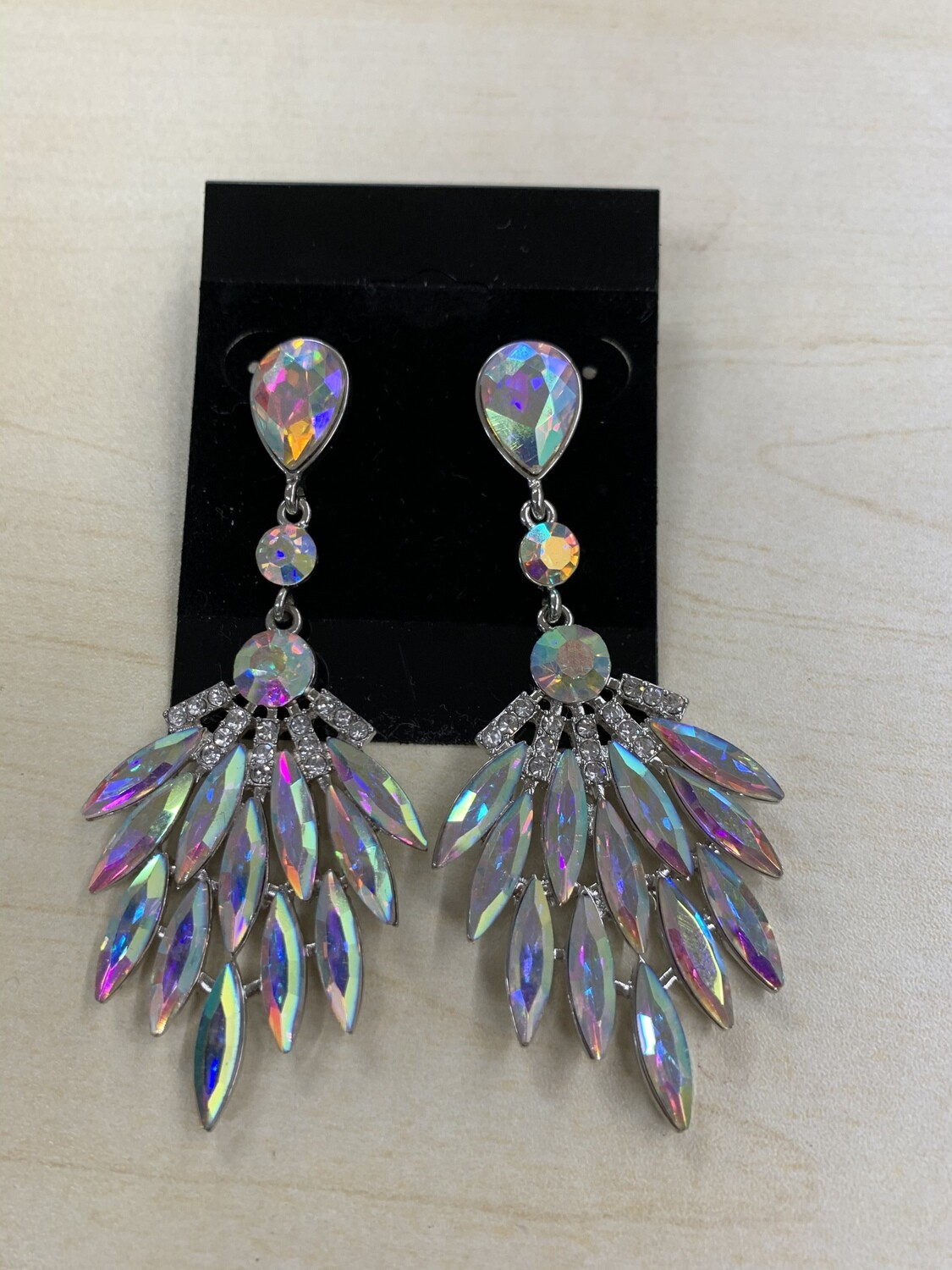 Formal Earrings Silver AB Feathered