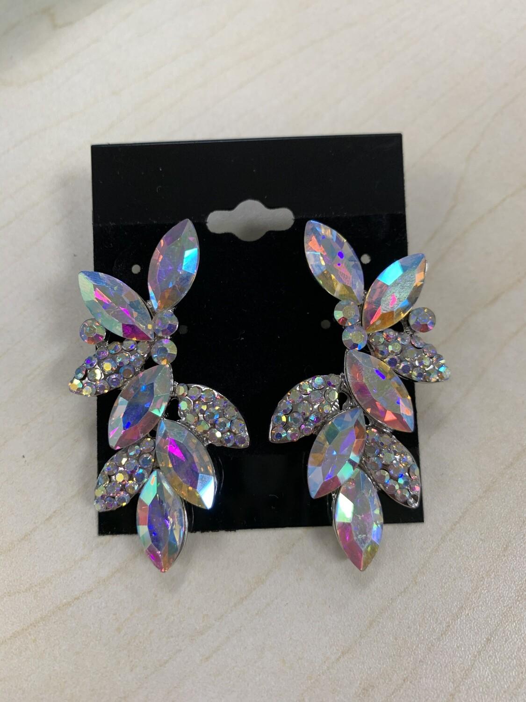 Formal Earrings Silver AB Leafy Stud