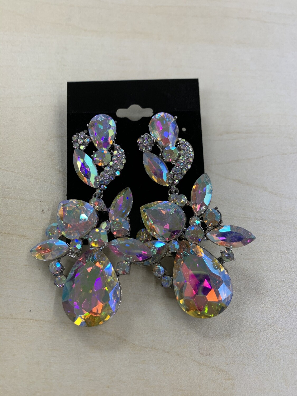 Formal Earrings Silver AB Large Stones Leafy
