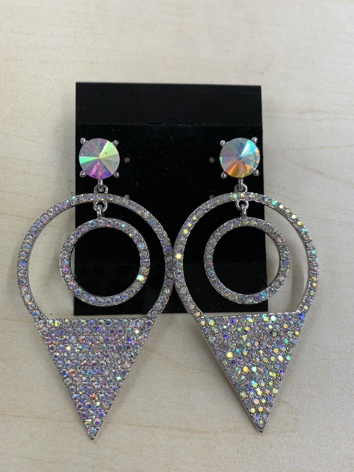 Formal Earrings Silver AB Triangle