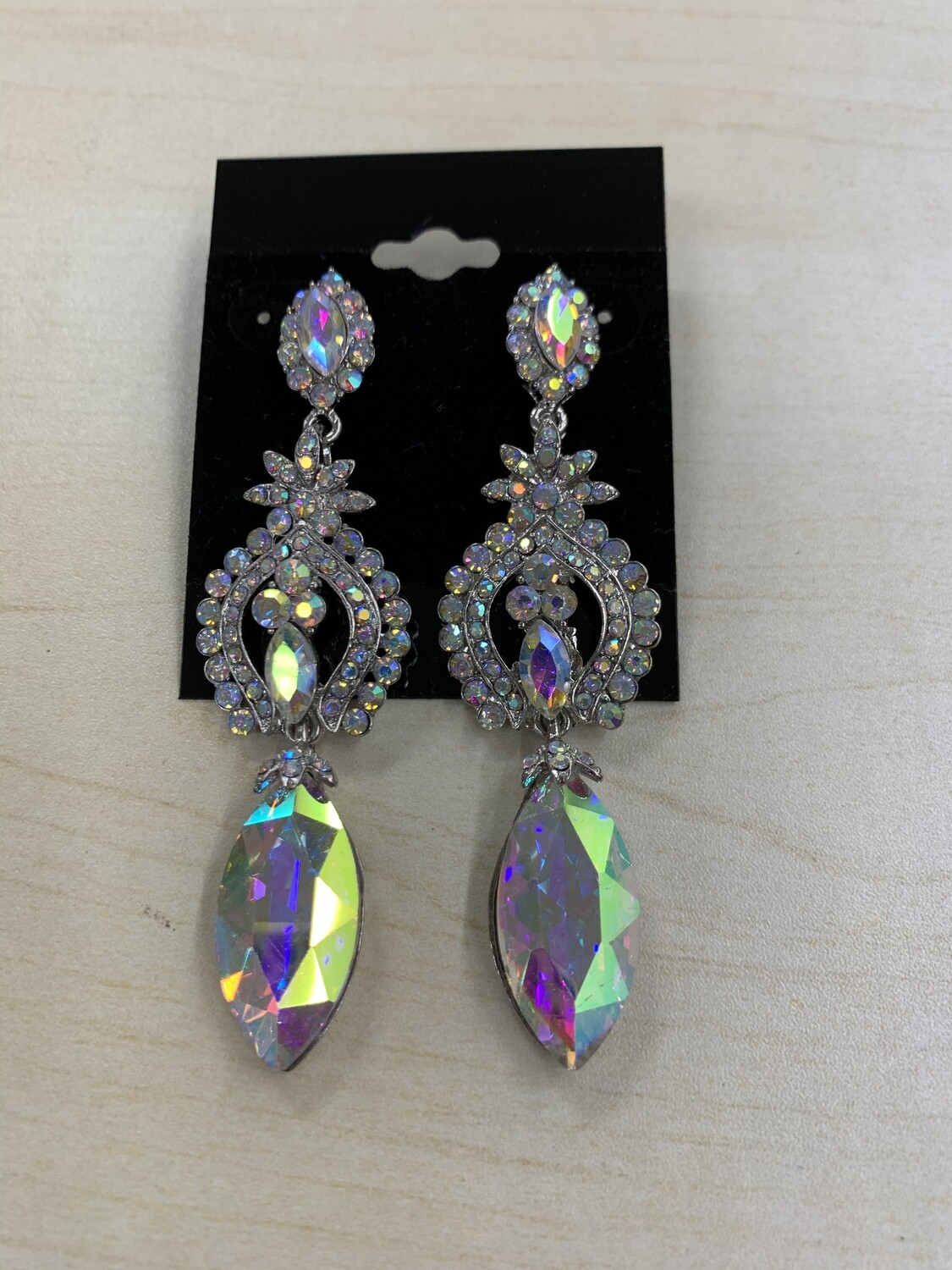 Formal Earrings Silver AB Flowered Middle