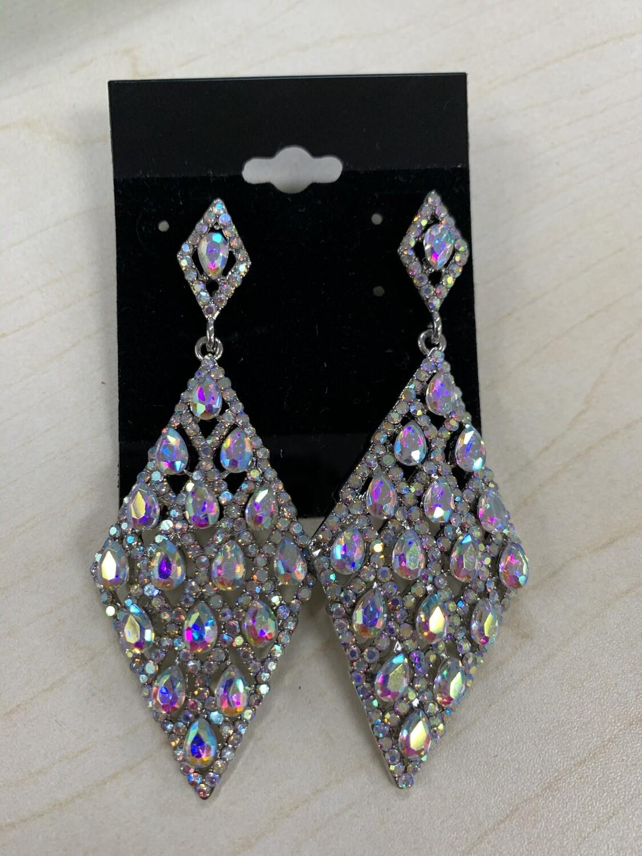 Formal Earrings Silver AB Diamond Shape