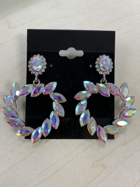 Formal Earrings Silver AB Leafy Heart
