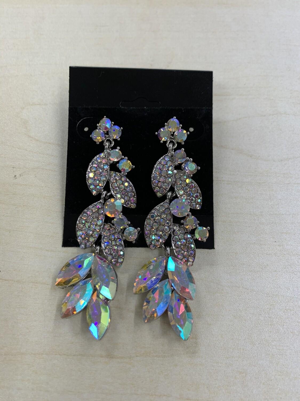 Formal Earrings Silver AB Long Leafy Style