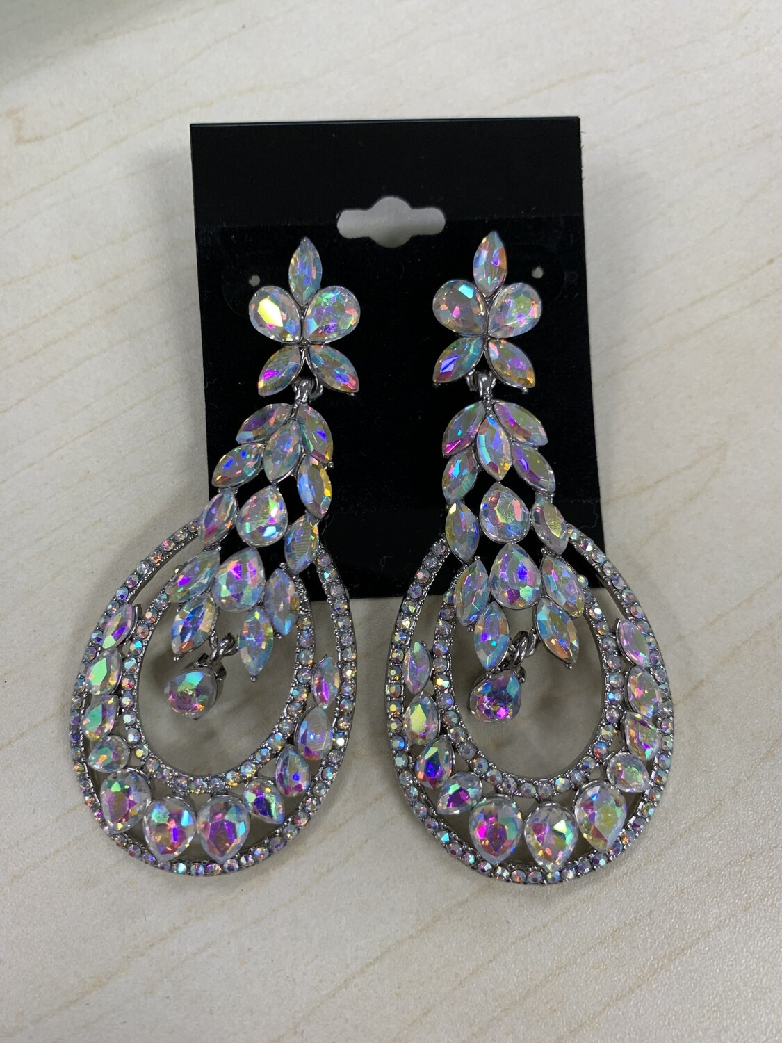 Formal Earrings Silver AB Large Round