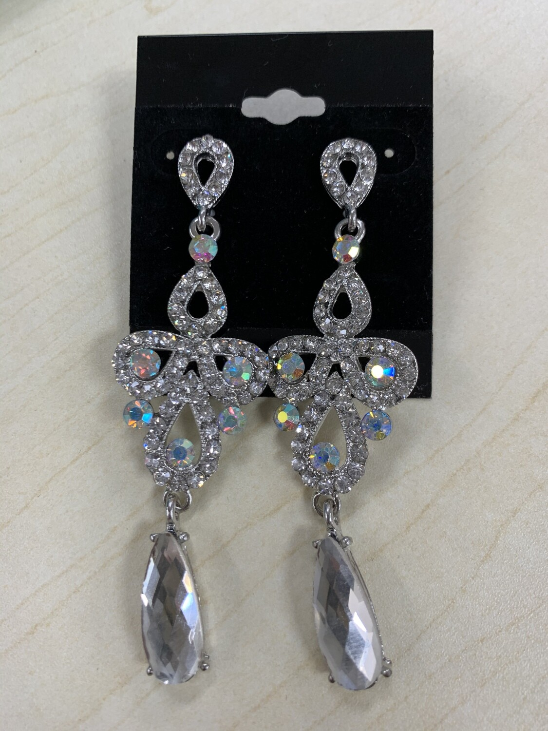 Formal Earrings Silver Clear with AB