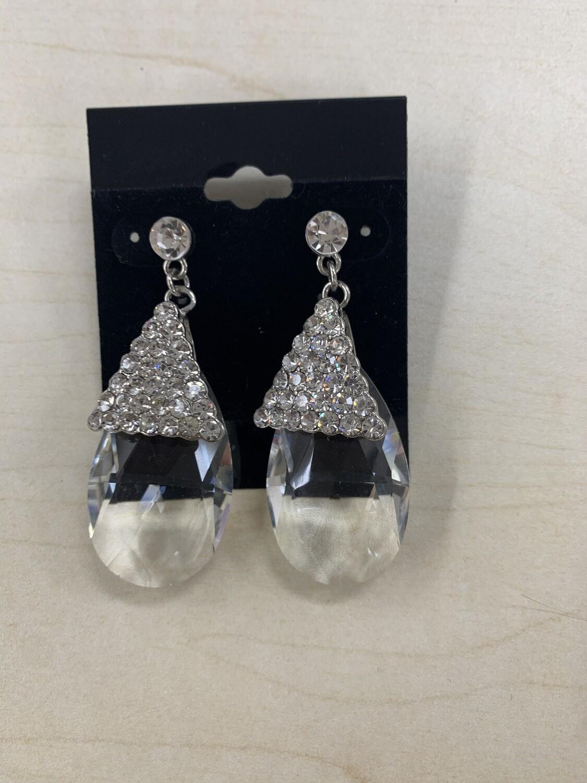 Formal Earrings Silver Clear Stone Dangle