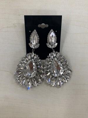 Formal Earrings Silver Clear Large Multi Stones