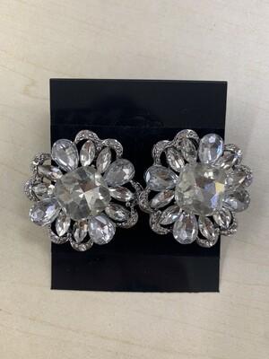 Formal Earrings Silver Clear Flower Stud