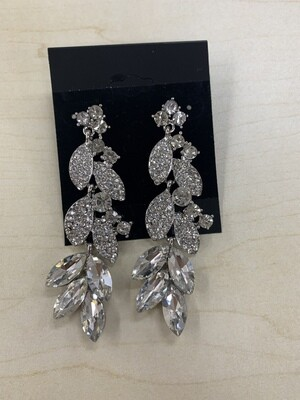 Formal Earrings Silver Clear Leaves Long
