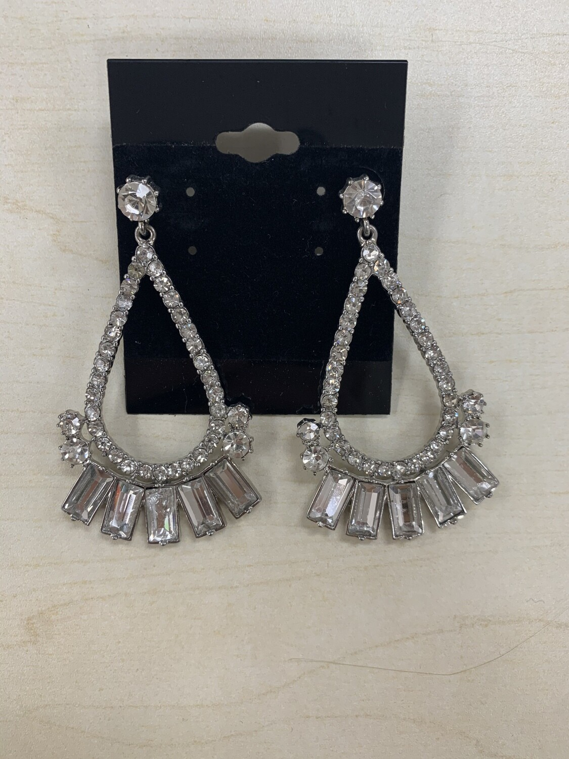 Formal Earrings Silver Clear Oval Rectangle Stones