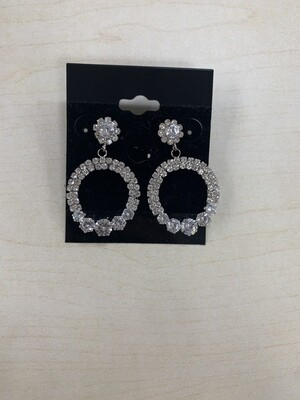 Formal Earrings Silver Clear Circle Small