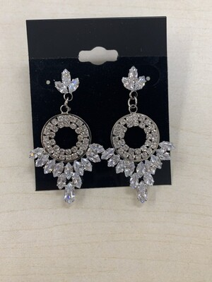 Formal Earrings Silver Clear Circle CZ