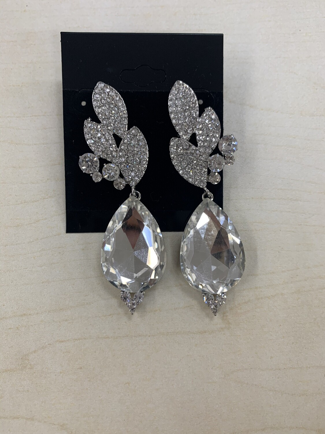 Formal Earrings Silver Clear Leafy Teardrop