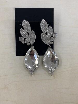 Formal Earrings Silver Clear Leafy Teardrop