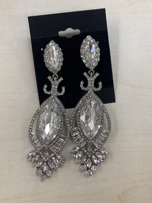 Formal Earrings Silver Clear Large Teardrop Stud
