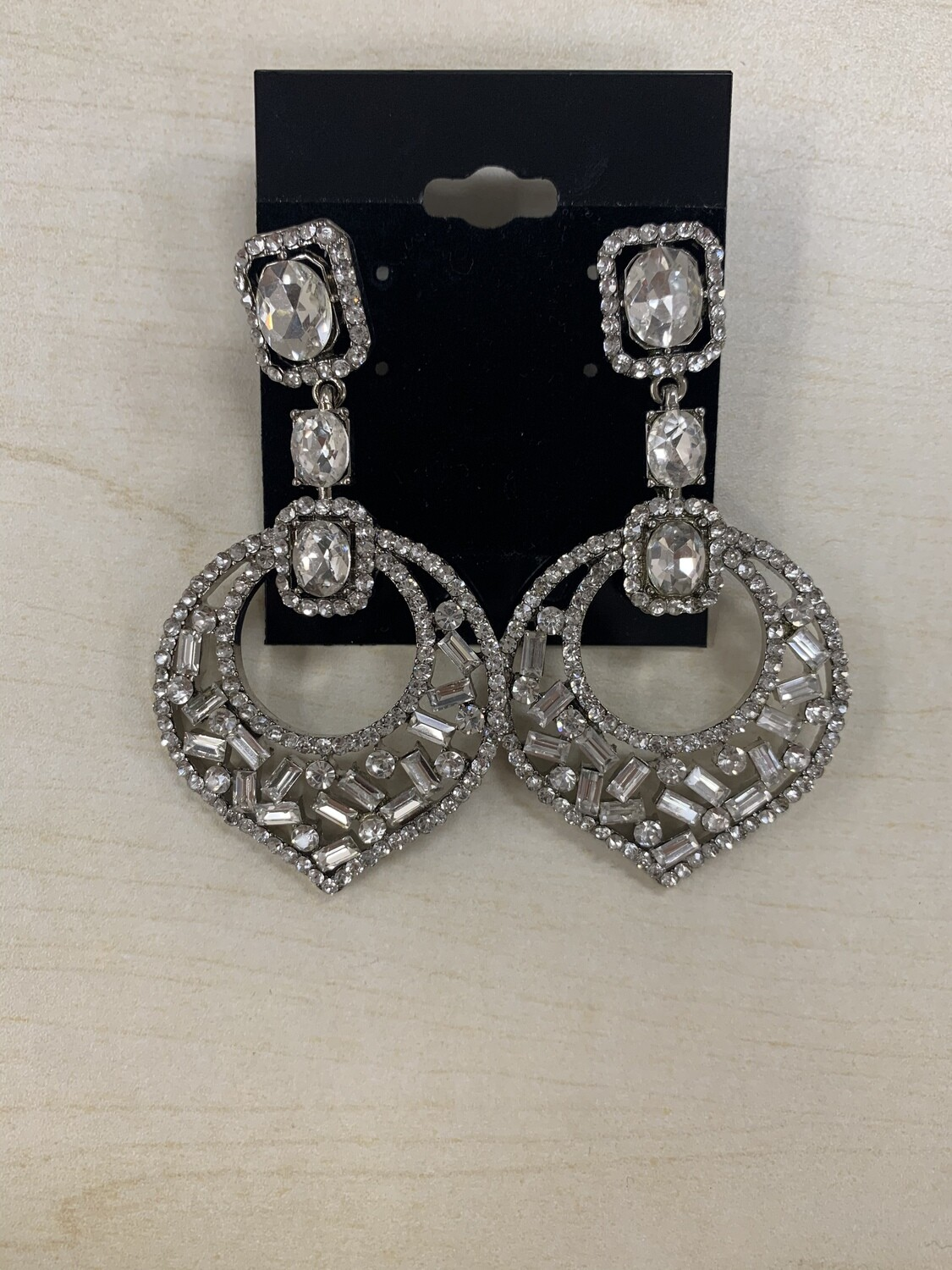 Formal Earrings Silver Clear Misc Shapes