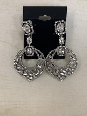 Formal Earrings Silver Clear Misc Shapes