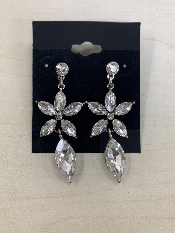 Formal Earrings Silver Clear Flower Small