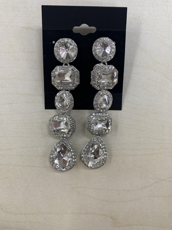 Formal Earrings Silver Clear Long Shapes