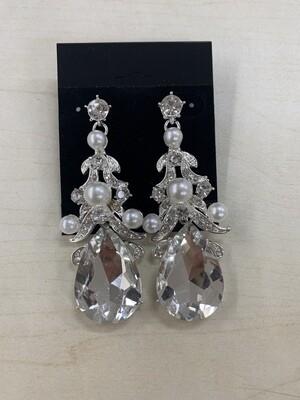 Formal Earrings Silver Clear Teardrop with Pearls