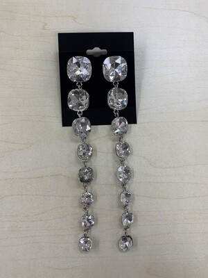 Formal Earrings Silver Clear Square Stones Extra Long
