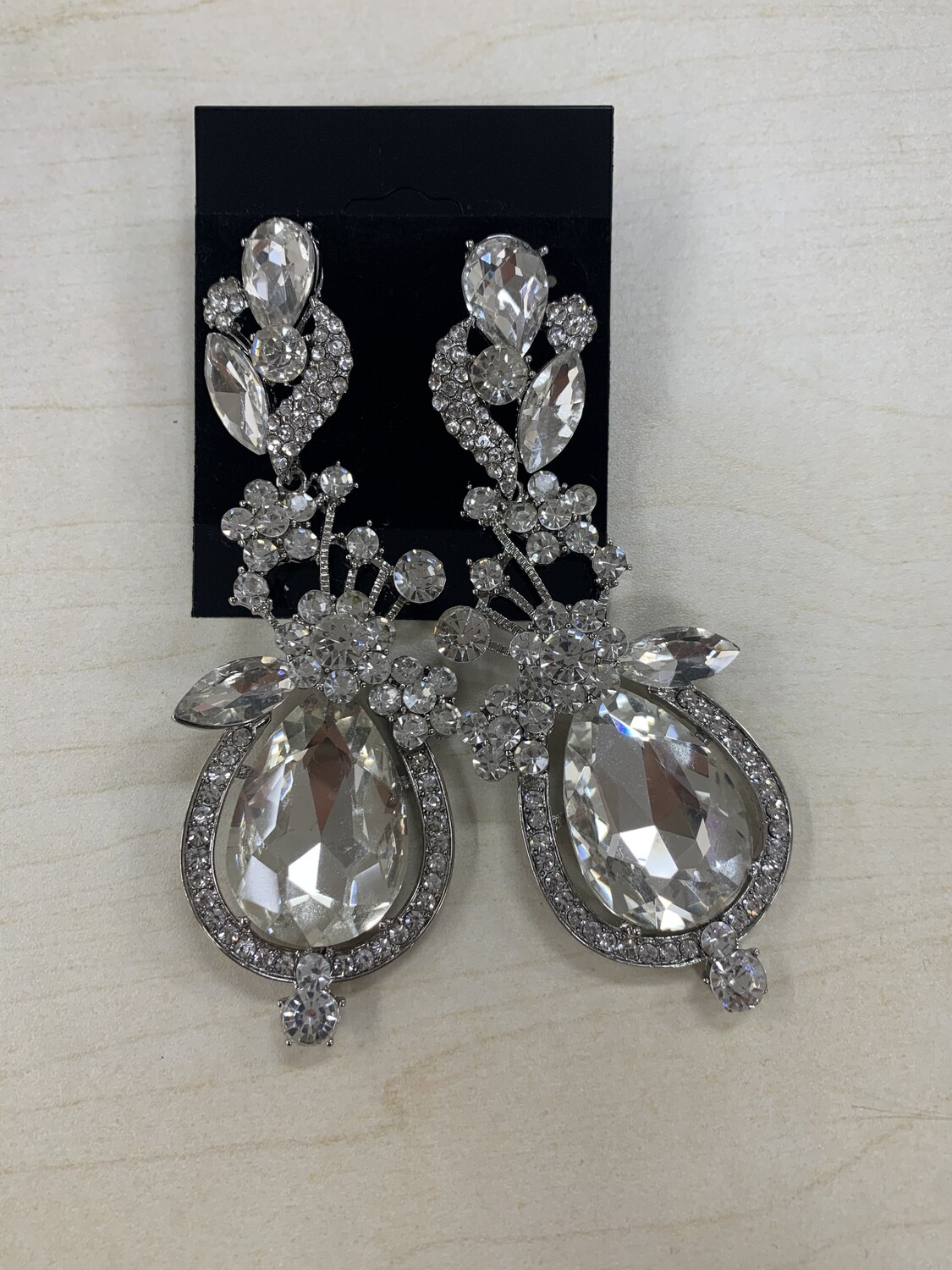 Formal Earrings Silver Clear Large Detailed
