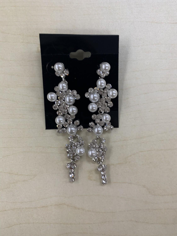 Formal Earrings Silver Clear Pearls