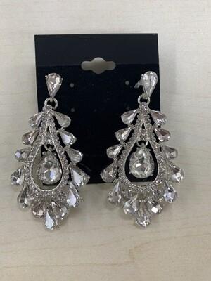 Formal Earrings Silver Clear Teardrops