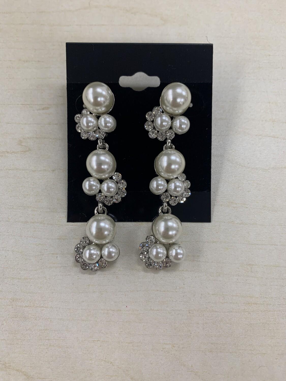 Formal Earrings Silver Clear Long Pearls
