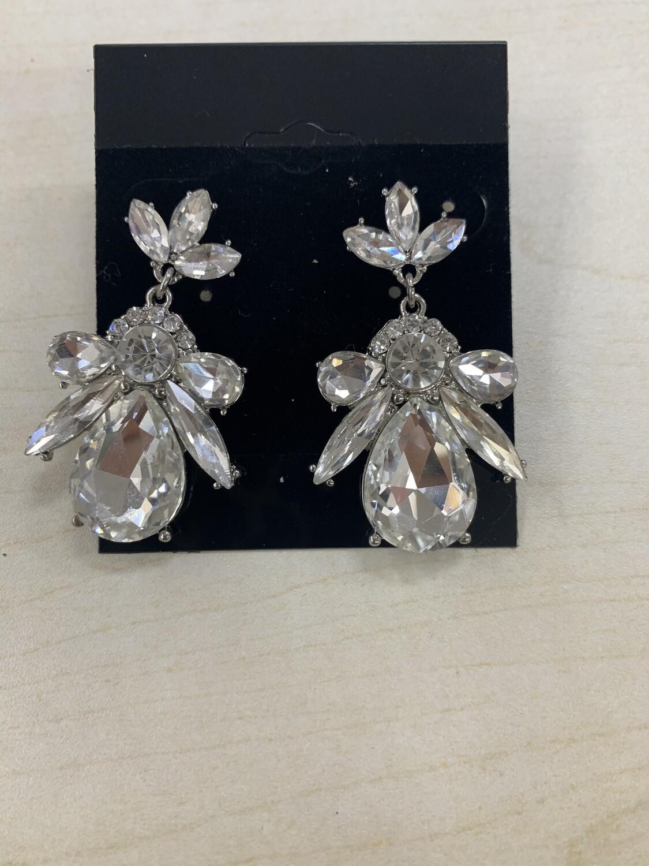 Formal Earrings Silver Clear Bee
