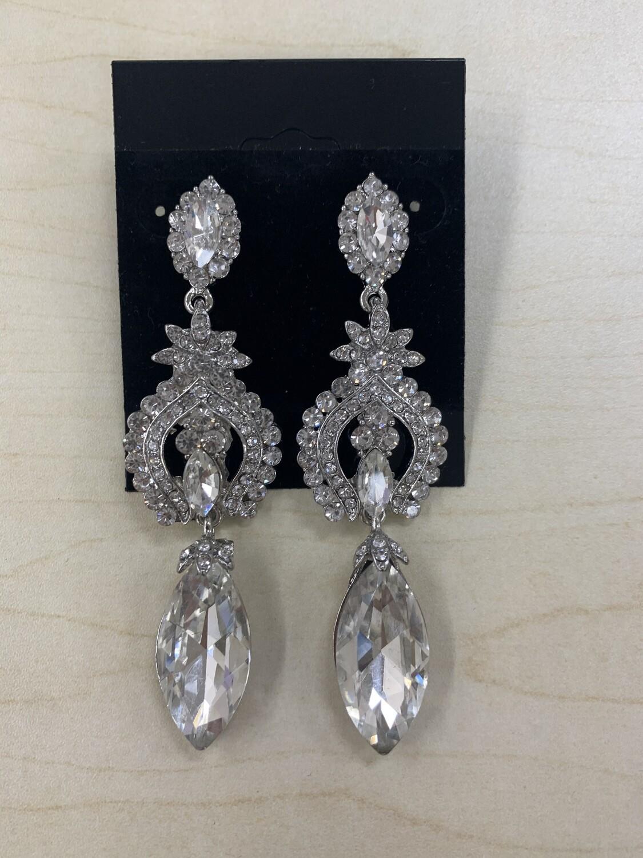 Formal Earrings Silver Clear Multi Stones