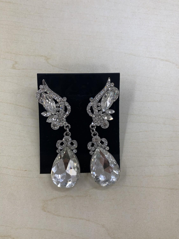 Formal Earrings Silver Clear Detailed Top Teardrop