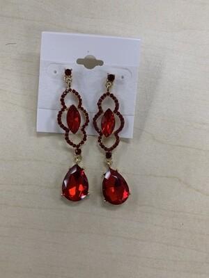 Formal Earrings Red Detailed Dangle