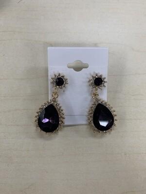Formal Earrings Purple Teardrop with Gold
