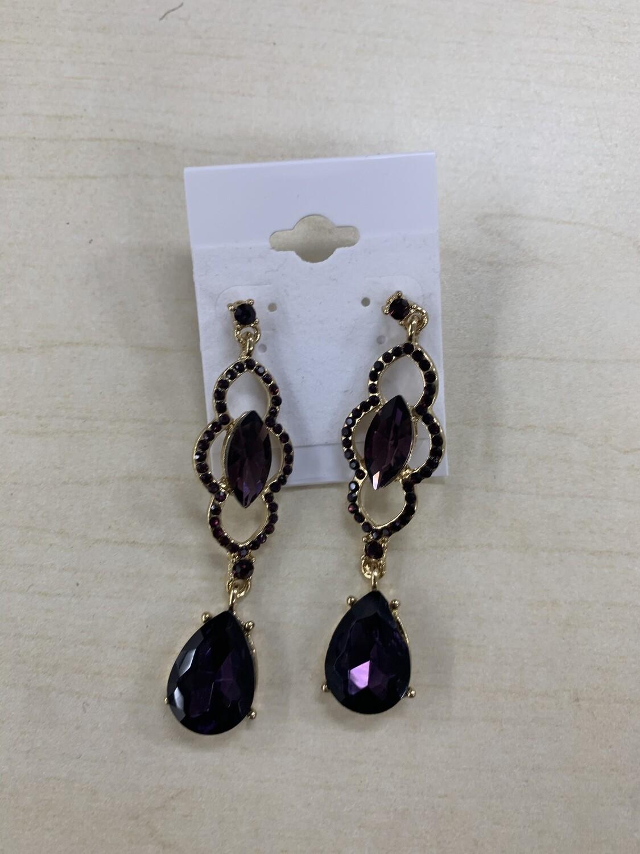 Formal Earrings Purple Detailed Dangle