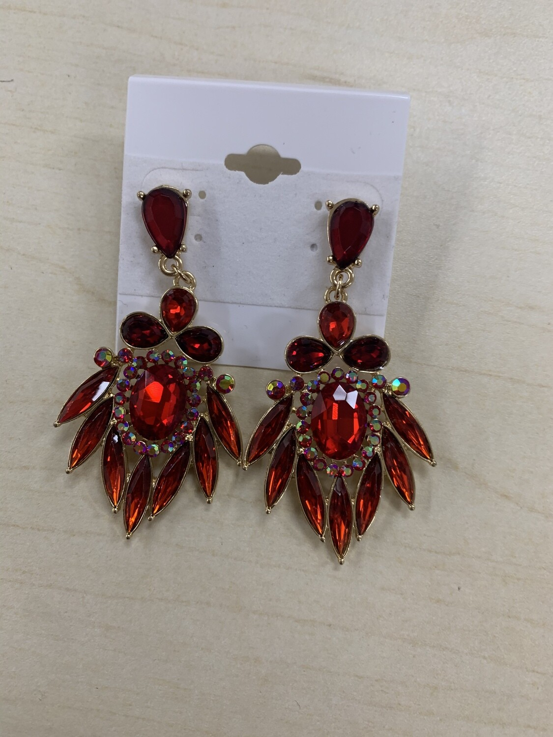 Formal Earrings Red with Multi Feathered