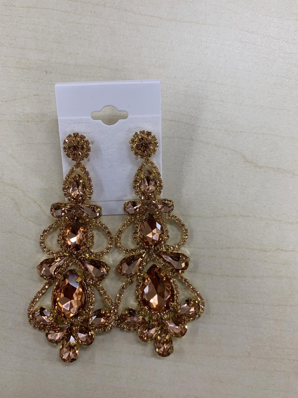 Formal Earrings Rose Gold Large Chandelier