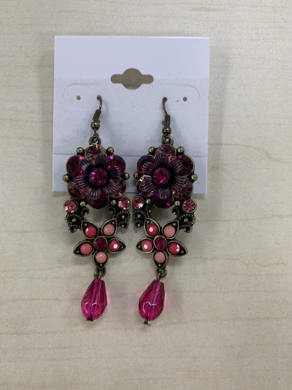 Formal Earrings Hot Pink Dark Flowers