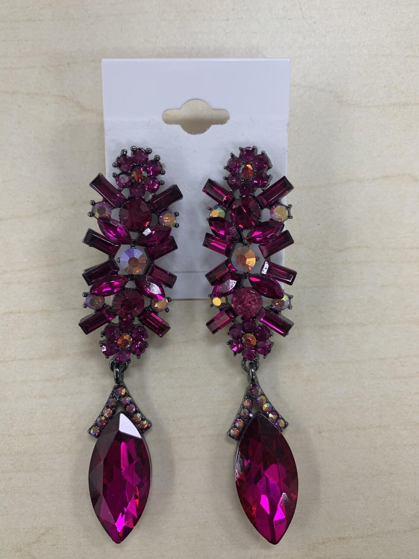 Formal Earrings Hot Pink Black Base
