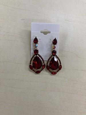 Formal Earrings Red Teardrop with Stones