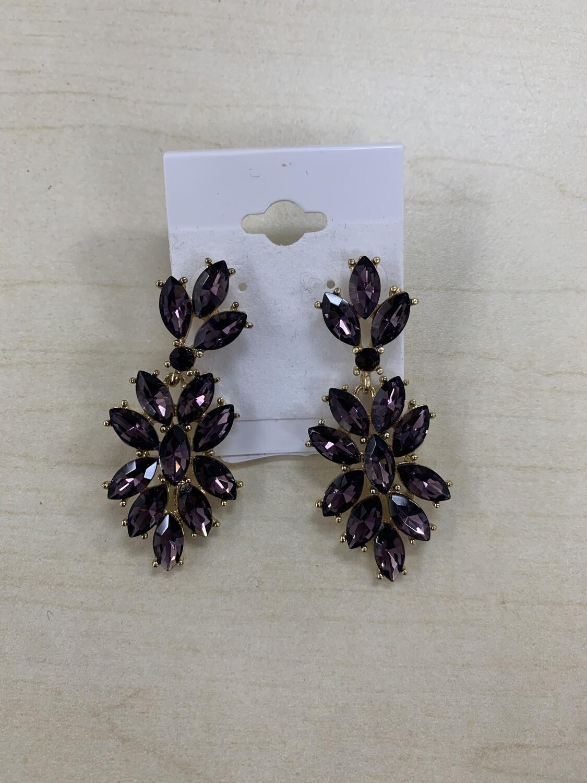 Formal Earrings Purple Flowered Small