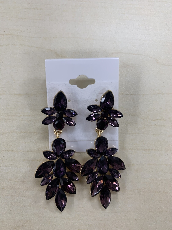 Formal Earrings Purple Flowered Medium