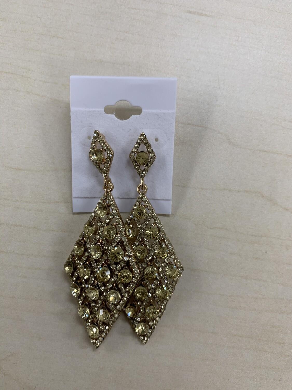 Formal Earrings Light Yellow Gold Diamond Shape