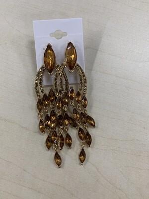 Formal Earrings Topaz Gold Chandelier