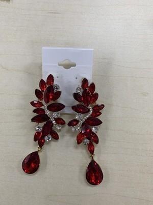 Formal Earrings Red with Silver Teardrop Bottom