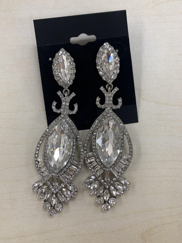Formal Earrings Silver Clear Pointed End Teardrop Stone