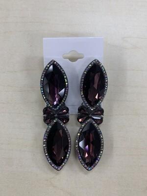 Formal Earrings Purple Bow