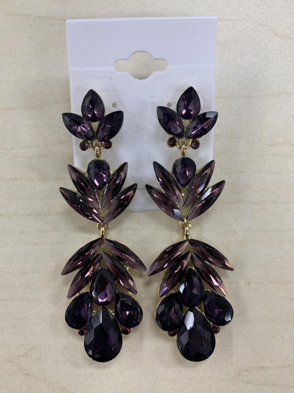 Formal Earrings Purple Flowered Large