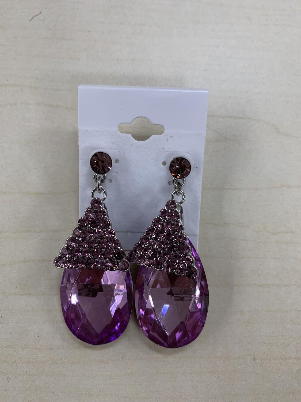 Formal Earrings Purple Stone Dangle